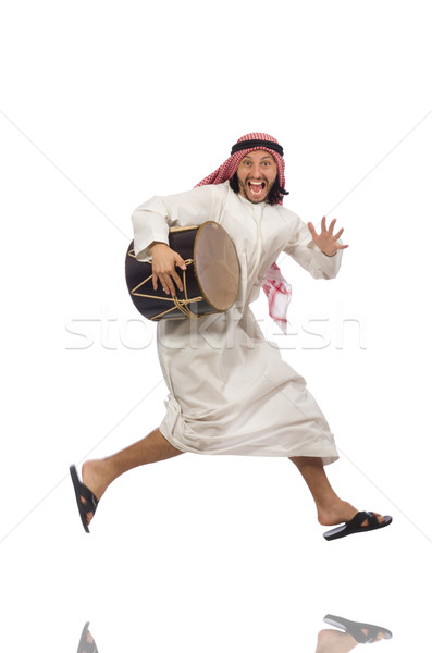 Árabe homem jogar tambor isolado branco Foto stock © Elnur