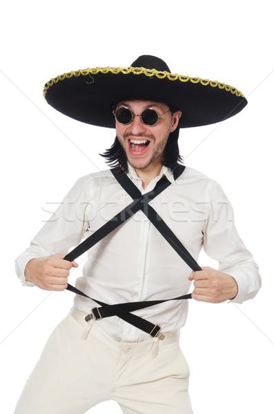 Mexikói férfi visel szombréró izolált fehér Stock fotó © Elnur
