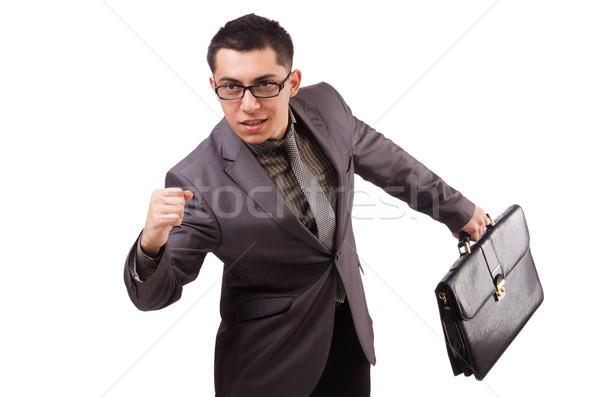 Junger Mann halten Aktentasche isoliert weiß Business Stock foto © Elnur