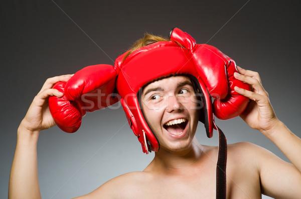 Funny nerd boxeador deporte mano hombre Foto stock © Elnur