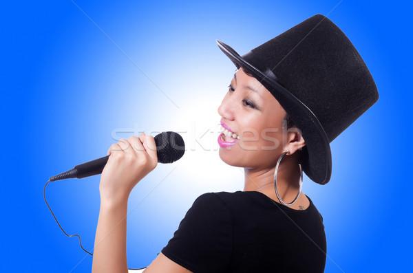 Vrouwelijke zanger geïsoleerd witte meisje partij Stockfoto © Elnur