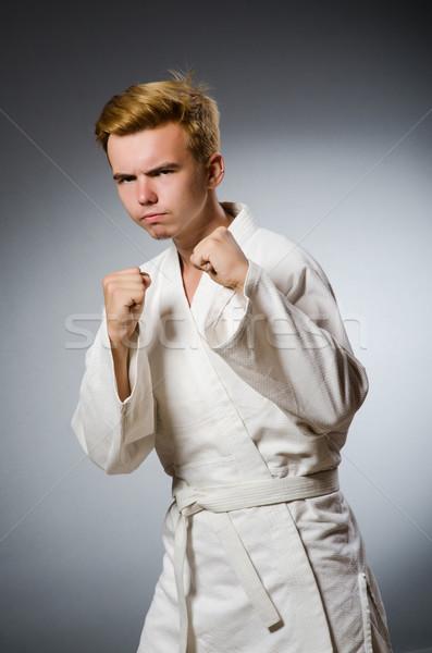 Stockfoto: Grappig · karate · vechter · witte · kimono