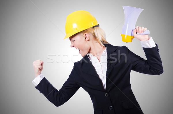 Female construction worker with loudspeaker Stock photo © Elnur