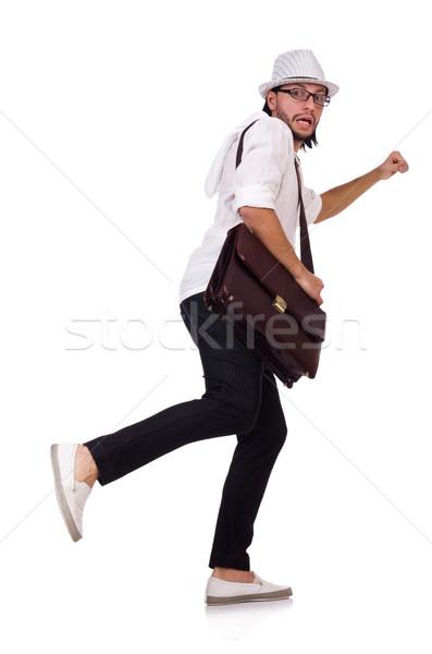 молодым человеком Hat сумочка изолированный белый человека Сток-фото © Elnur