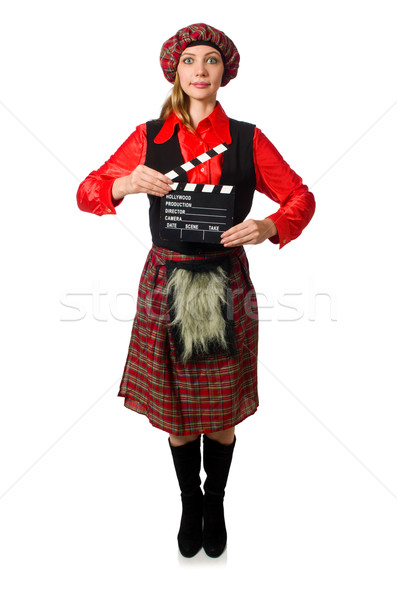 Funny woman in scottish clothing with movie board Stock photo © Elnur