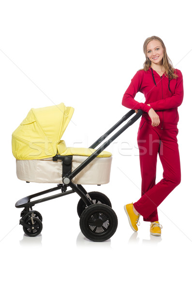Woman with pram isolated on white Stock photo © Elnur