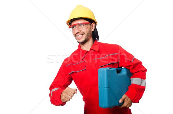 Foto stock: Homem · vermelho · isolado · homem · branco · branco