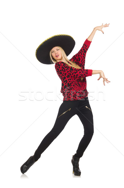 Funny mexican woman wearing sombrero isolated on white Stock photo © Elnur