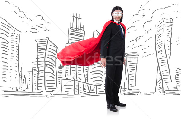 Man in red cover with skyscapers at the background Stock photo © Elnur