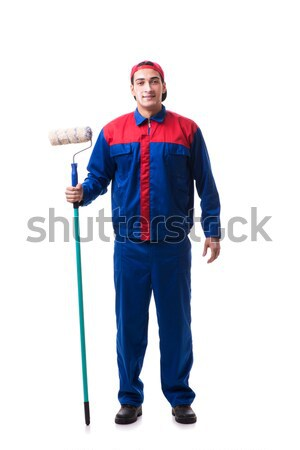 Young repairman with tape measure isolated on white Stock photo © Elnur