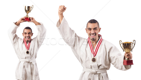 Collage of karate player in kimono isolated on white Stock photo © Elnur