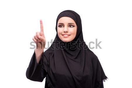 Muzułmanin kobieta czarna sukienka odizolowany biały dziewczyna Zdjęcia stock © Elnur
