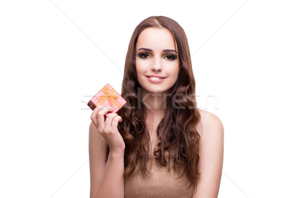 Woman with giftbox isolated on white Stock photo © Elnur