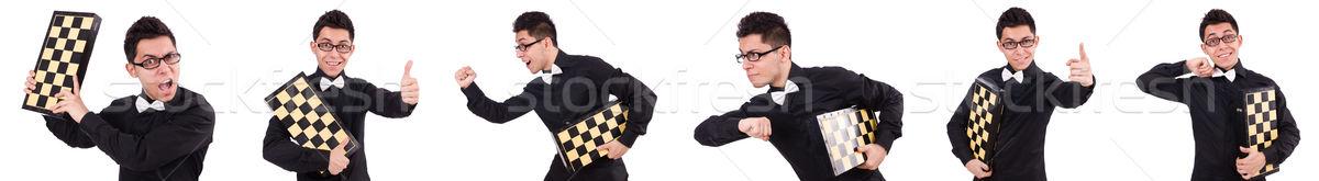 Funny ajedrez jugador aislado blanco éxito Foto stock © Elnur