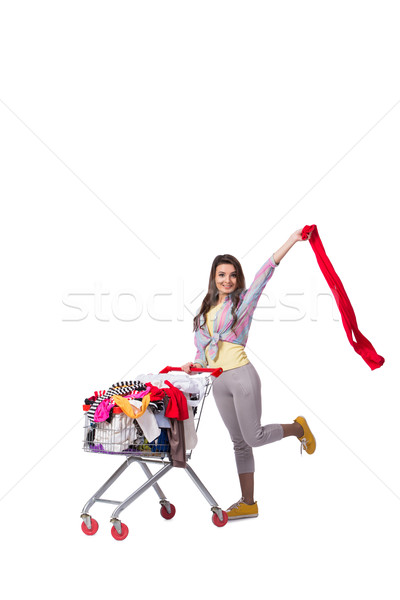 Woman after buying second hand clothing on white Stock photo © Elnur