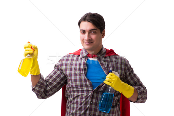 Stock photo: Super hero cleaner isolated on white