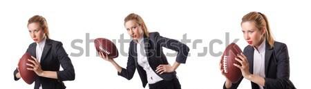 Biuro pracownika rugby ball odizolowany biały działalności Zdjęcia stock © Elnur