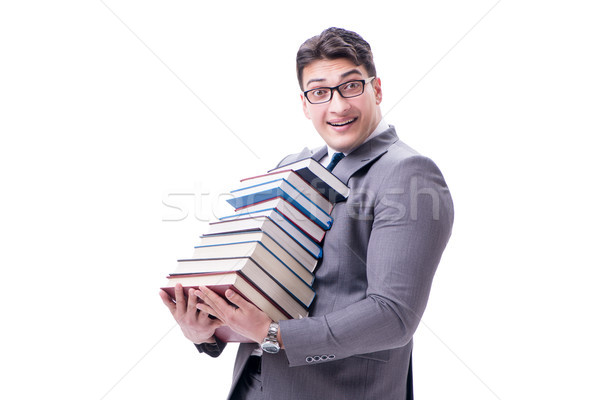 Businessman student carrying holding pile of books isolated on w Stock photo © Elnur