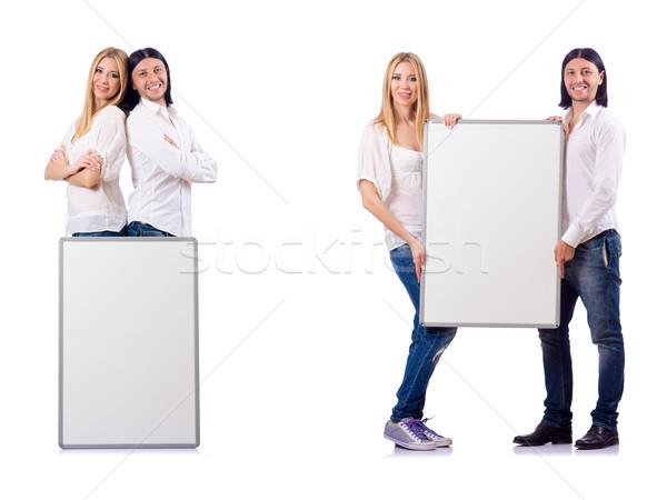 Stockfoto: Paar · boord · geïsoleerd · witte · familie · liefde