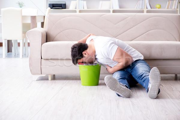 Férfi szenvedés beteg gyomor hányás fájdalom Stock fotó © Elnur