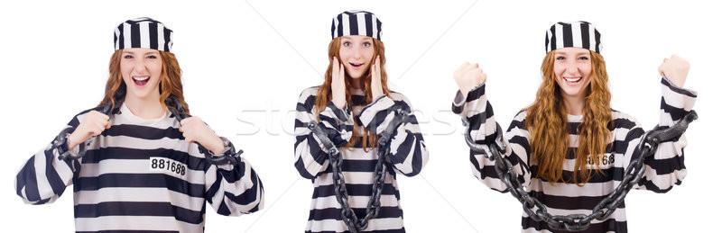 Frau Gefangener isoliert weiß Hintergrund Sicherheit Stock foto © Elnur