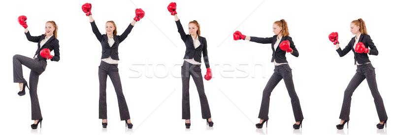 Vrouw zakenvrouw bokshandschoenen witte business kantoor Stockfoto © Elnur