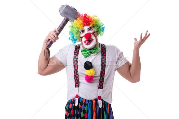 смешные клоуна молота изолированный белый человека Сток-фото © Elnur