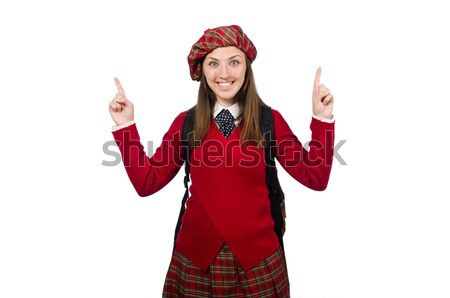 Girl in scottish tartan clothing isolated on white Stock photo © Elnur