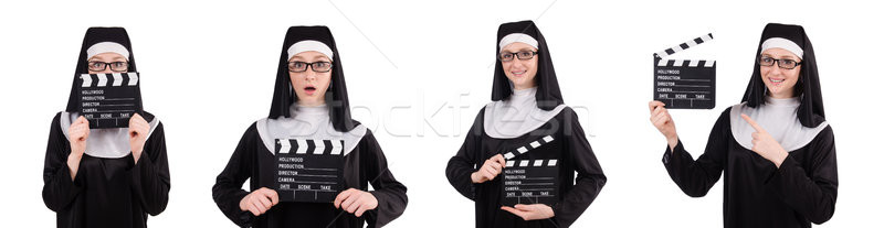 The nun with movie board isolated on white Stock photo © Elnur