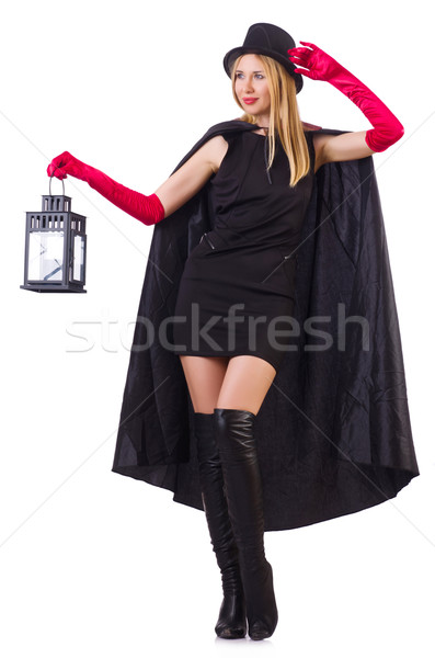 Tall model with lantern isolated on white Stock photo © Elnur