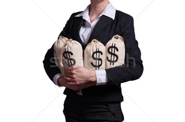 Woman with sacks of money on white Stock photo © Elnur