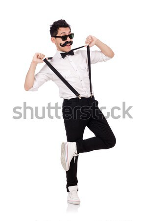 Stock photo: Funny man with axe on white