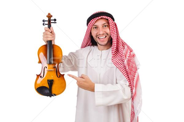 Arab férfi játszik fehér zene kéz Stock fotó © Elnur