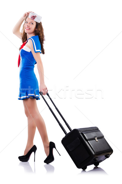 Woman sailor with suitcase on white Stock photo © Elnur
