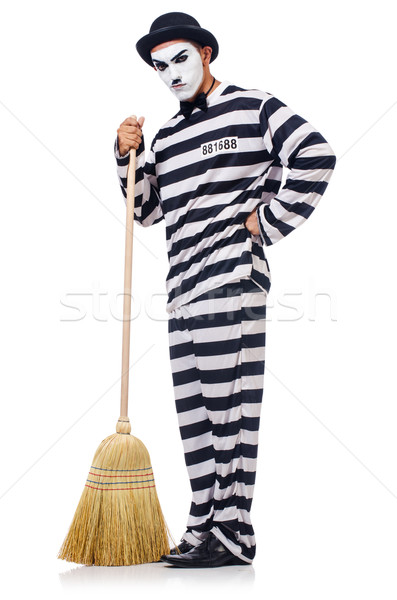 Prisoner with broom isolated on the white Stock photo © Elnur
