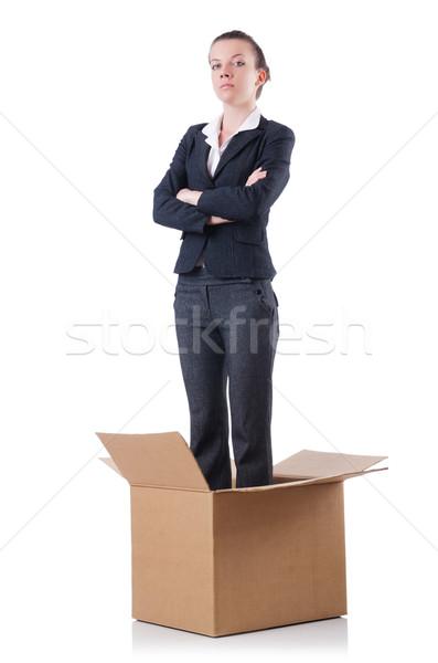 ストックフォト: 女性 · ボックス · 白 · オフィス · 背景 · ボックス