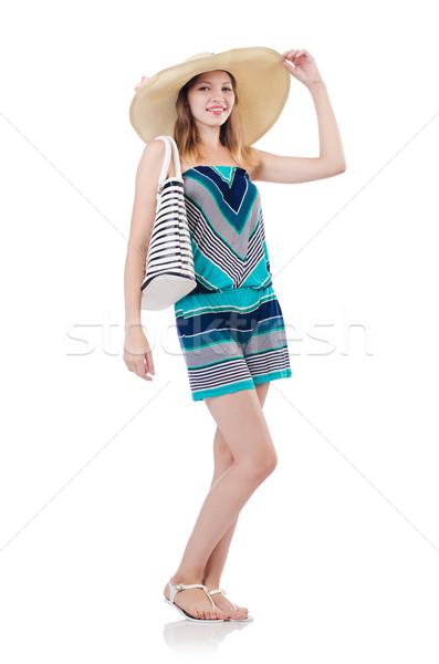Pretty woman lata torebka Panama odizolowany biały Zdjęcia stock © Elnur