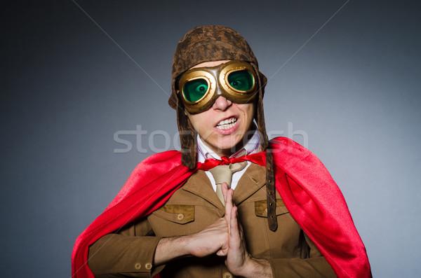 Funny piloto gafas de protección casco hombre moda Foto stock © Elnur