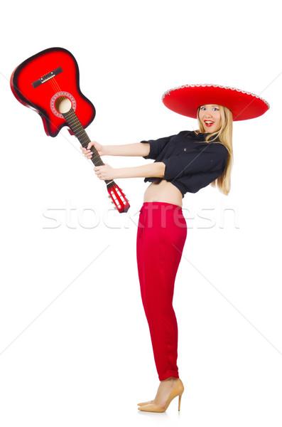 Mexican femme guitariste isolé blanche fête Photo stock © Elnur