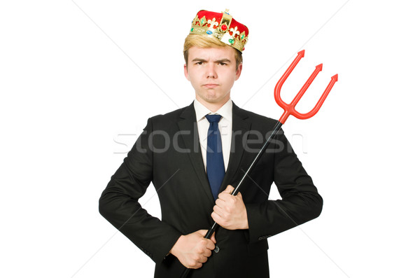 Funny businessman with trident pitchfork isolated on white Stock photo © Elnur