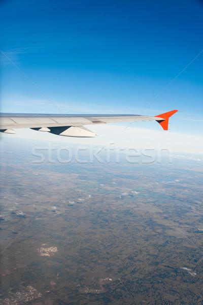 Stockfoto: Vliegtuig · vleugel · uit · venster · technologie · Blauw