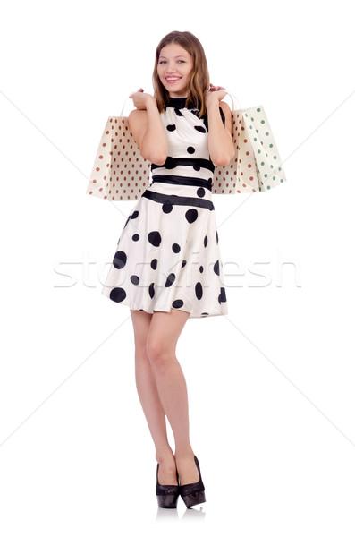 Kadın alışveriş mutlu moda çanta hediye Stok fotoğraf © Elnur