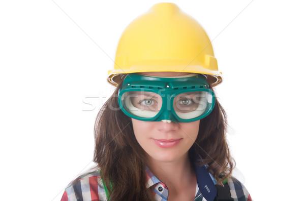Nő visel védőszemüveg biztonság építkezés munka Stock fotó © Elnur