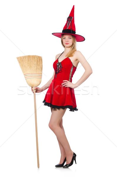 Heks rode jurk bezem haren achtergrond Rood Stockfoto © Elnur