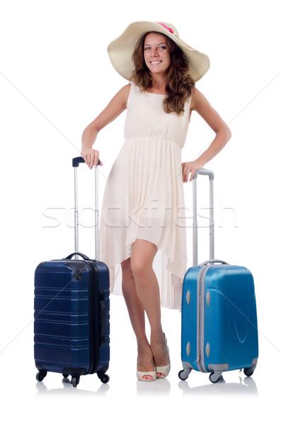 Mulher viajante mala isolado branco menina Foto stock © Elnur