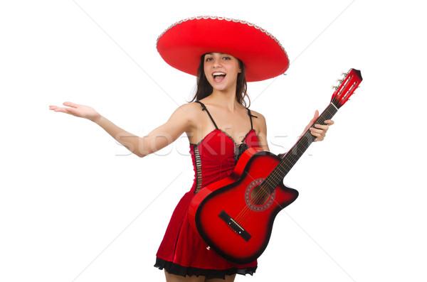 Donna indossare rosso sombrero isolato bianco Foto d'archivio © Elnur