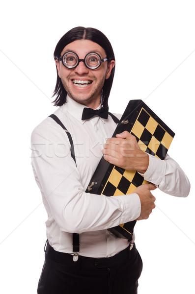 Komik adam satranç tahtası yalıtılmış beyaz ahşap Stok fotoğraf © Elnur