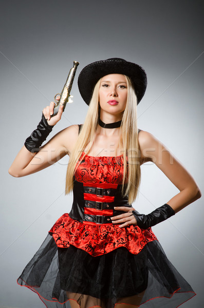 Woman pirate with gun wearing hat Stock photo © Elnur