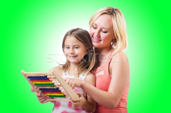 Mãe filha ábaco branco família menina Foto stock © Elnur