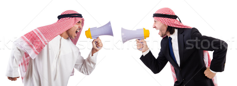 Arab yelling with loudspeaker isolated on white Stock photo © Elnur